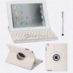 360°PU Leather Smart Cover Stand Case+Wireless Bluetooth Keyboard for iPad 2 3rd