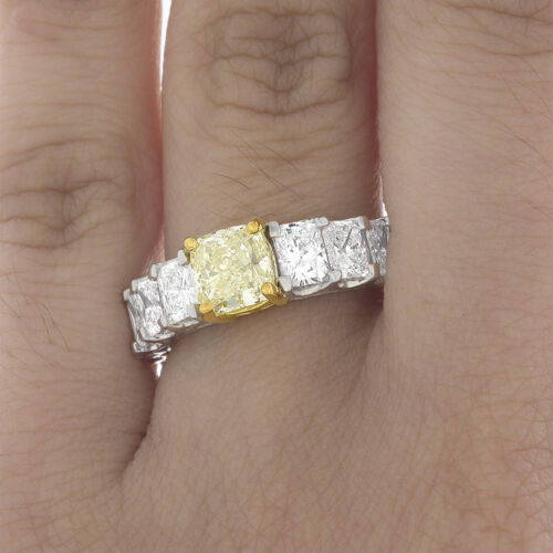 Natural 4.00 CT GIA Fancy Yellow Cushion Diamond Eternity Engagement in Platinum