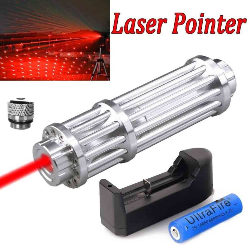 1-W Red Laser Pointer Pen Military 650nm Beam Light Lazer +18650 Battery+Charger