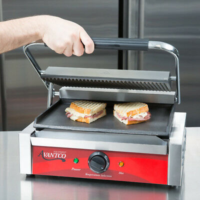 Avantco P75sg Single Commercial Panini Sandwich Grill Grooved Top Smooth Bottom