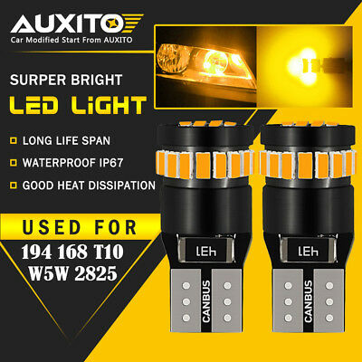2X AUXITO Amber Yellow 168 194 921 License Side Marker Light Canbus LED Bulb EDO