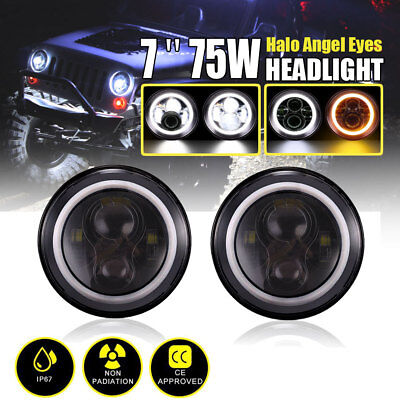 2x 7inch LED Halo Angel Eyes Headlight Daymaker Projector Jeep Wrangler Harley
