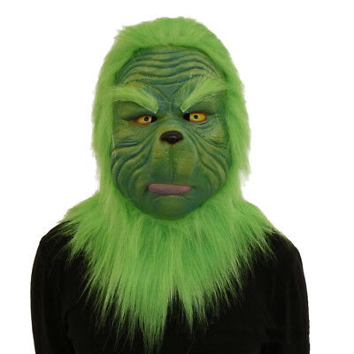 The Grinch Mask Party Costume Cosplay Helmet How the Grinch Stole Christmas Prop