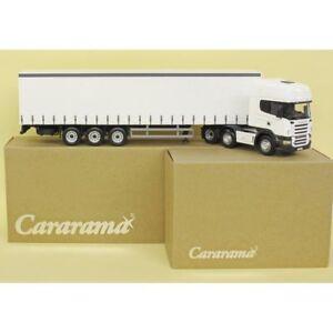 SCANIA R620 PLAIN WHITE CURTAINSIDE TRUCK & TRAILER DIECAST LORRY 1:50 CARARAMA