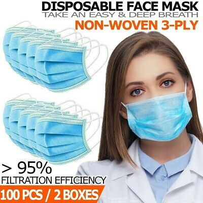 100 Pcs Disposable 3-ply Face Mask Non Medical Surgical Earloop Mouth Cover