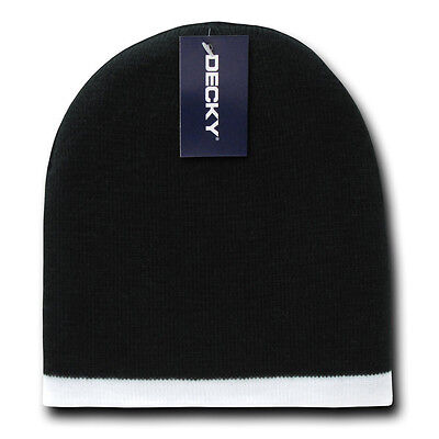- SINGLE STRIPED BEANIE HAT Short Knit Cap winter ski snowboard watch skull BLACK