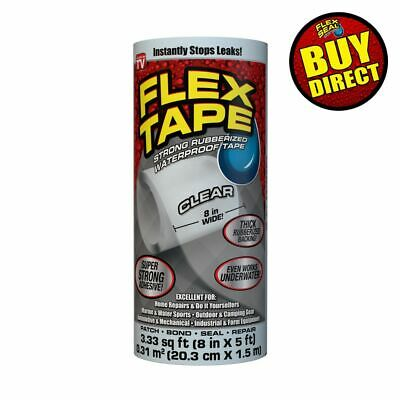 Flex Tape Clear 8 X 5 - Super Strong Rubberized Waterproof - Buy Direct