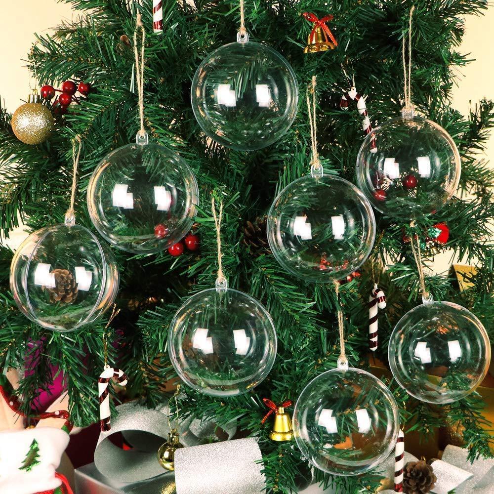 4-10CM Clear Plastic Christmas Balls Baubles Sphere Fillable Xmas Tree Ornament