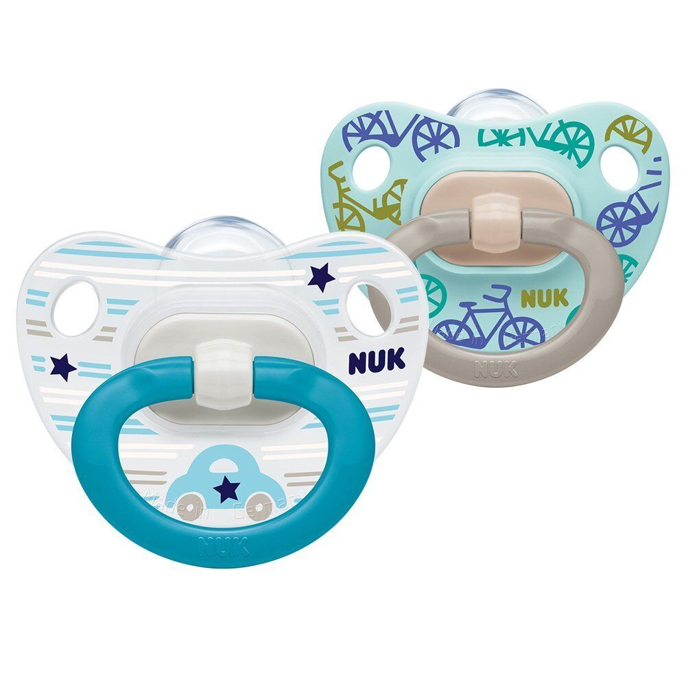 Butterfly and Car Designs NUK Happy Days Silicone Soothers Stage 2 Pack of 2
