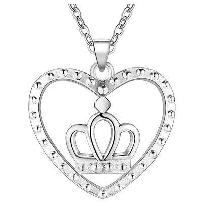 Women 925 Sterling Silver Plated Heart Crown Pendant Necklace Jewelry (Crest Pendant Sterling Silver Jewelry)