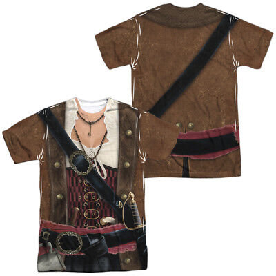 Pirate Lass Clothes Allover Front Back Costume Halloween Outfit Uniform T-shirt