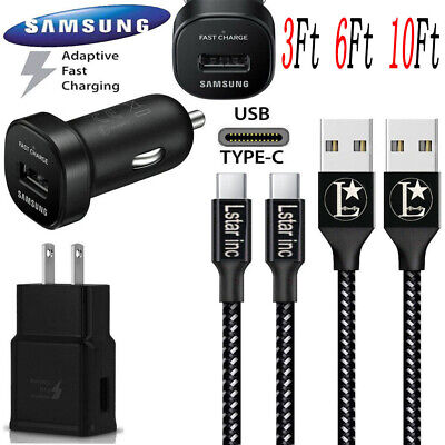 OEM Samsung Galaxy S8 S9 S10 Plus Fast Car & Wall Charger 3/6/10FT Type-C Cable