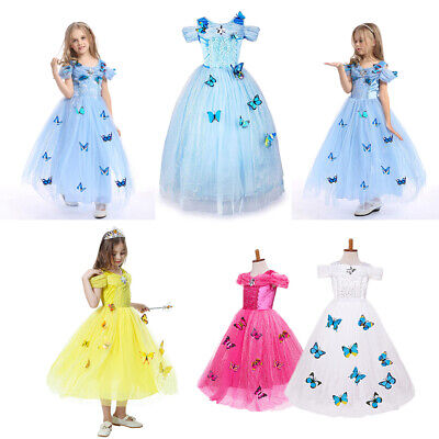 Princess Cinderella Cosplay Costume Kids Girls Butterfly Party Fancy Dress - Kids Butterfly Costumes