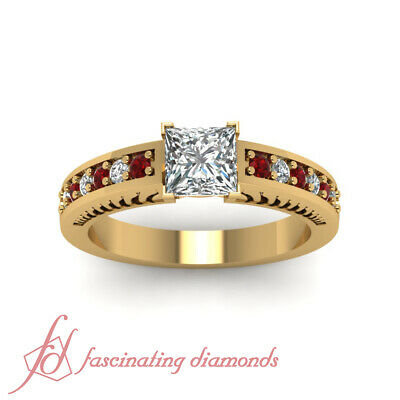 1 Carat Princess Cut Diamond And Ruby Contemporary Engagement Ring For Women GIA 1