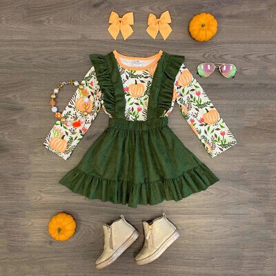 US Toddler Baby Girl Halloween Pumpkin Clothes Tops +Suspender Skirt Outfits Set