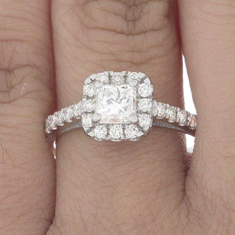 GIA Certified Diamond Engagement Ring 1.18 CTW Princess Cut 18k White Gold 1