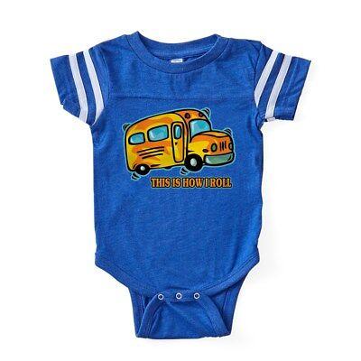 CafePress How I Roll School Bus Baby Football Bodysuit