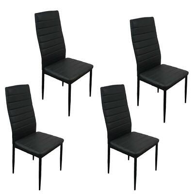 Set of 4 PU Leather Dining Side Chairs Elegant Design Home Furniture Black