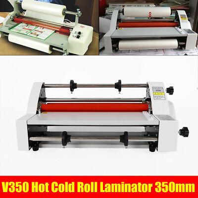 Hot Cold Roll Laminator Laminating Machine Singledual Sided V350 13 110v 350mm