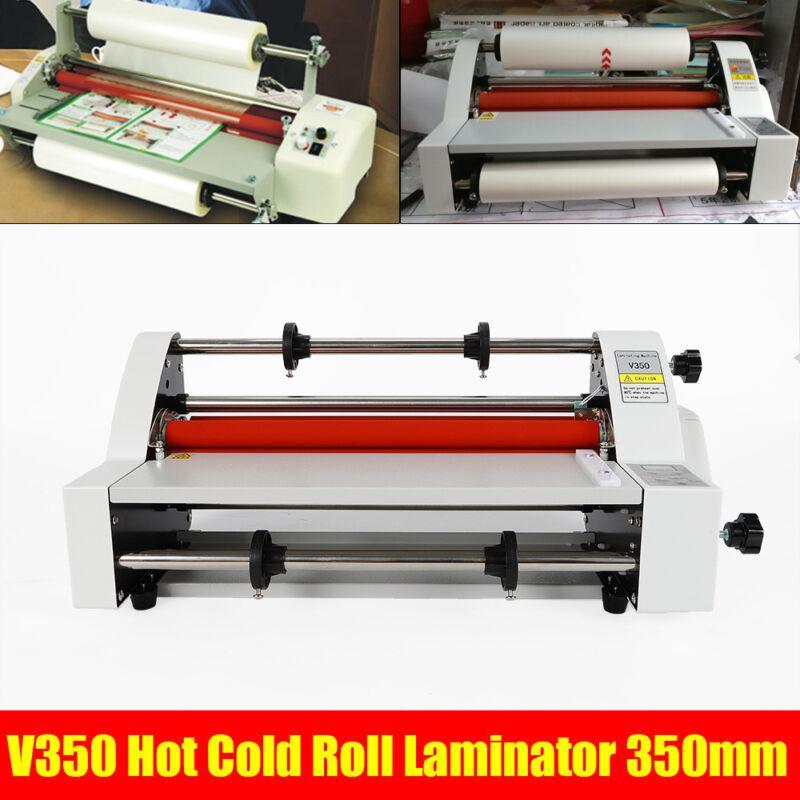"Hot Cold Roll Laminator Laminating Machine Single&Dual Sided V350 13"" 110V 350mm"