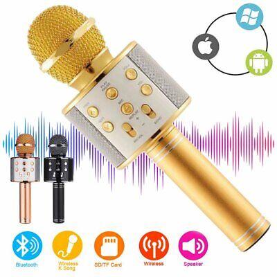 Wireless Bluetooth Karaoke Microphone USB Stereo Mic Speaker Player KTV Home