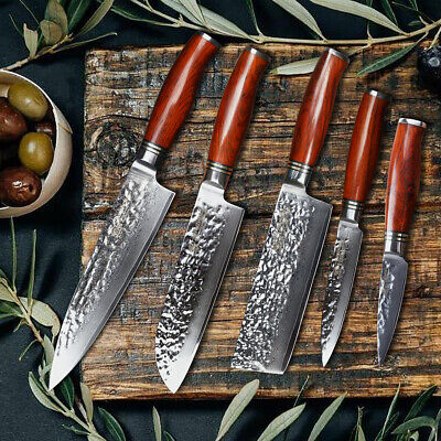 Best Chef knives set knife kitchen 5p Damascus With Santoku utility knife