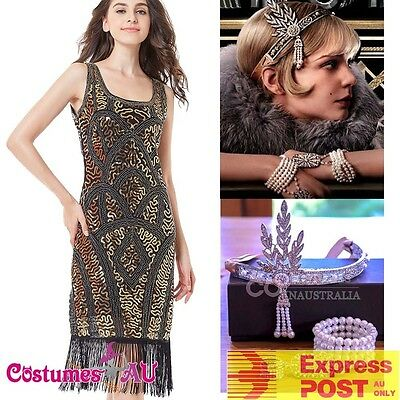 Ladies Deluxe 1920s Roaring 20s Flapper Costume Sequin Pearls Outfit Fancy Dress - Roaring 20 Outfits