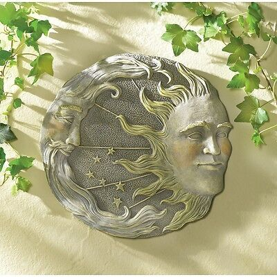Celestial Sky Sun Moon Stepping Stone Plaque Home Garden Path Walkway Wall (Moon Stepping Stone)