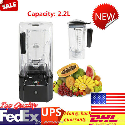 2.2l Commercial Smoothie Maker Mixer Electric Soundproof Cover Blender 110v Usa