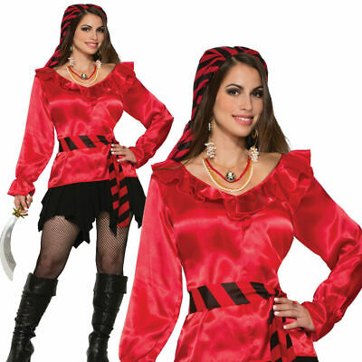 Damen Piraten Lady Red Bluse Kostüm Kostüm Seeräuber - Pirat Blackbeard Kostüm