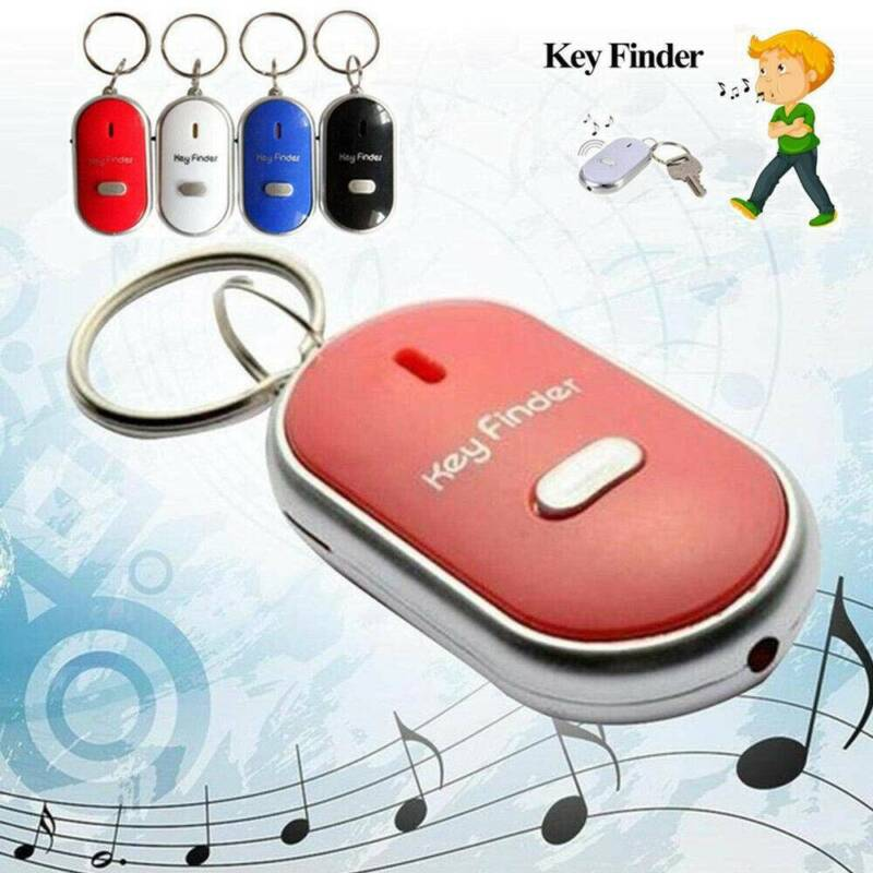 LED Anti-Lost Key Finder Locator Keychain Whistle Sound Cont