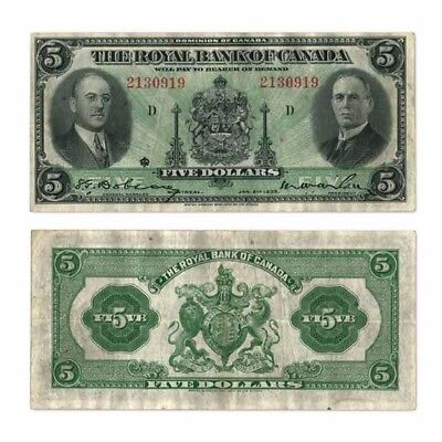 The Royal Bank Of Canada  5  5 1935 M W  Wilson H  Hoyt Pick S1391 Very Fine