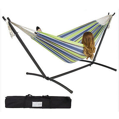 Outdoor Swing Chair Double Hammock with Steel Stand Camping Bed Free Shipping