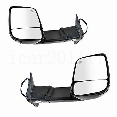 For 09-17 RAM 1500 2500 3500 Power Tow Mirror Set Heated w/Signal Puddle Black