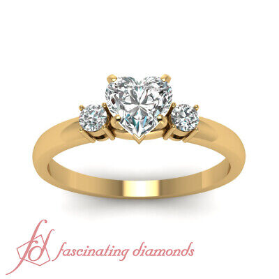 3/4 Carat Three Stone Engagement Ring With Heart Shaped And Round Diamond GIA 1