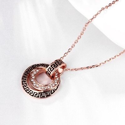 - 925 Sterling Silver Greek Key Blue Glass Two-Sided Evil Eye Pendant Necklace