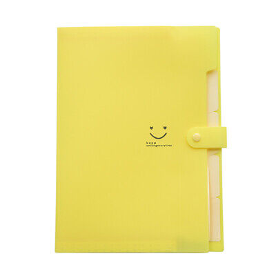 5 Pockets Plastic Expanding Paper Document Organizer Set Accordion Folder Yellow