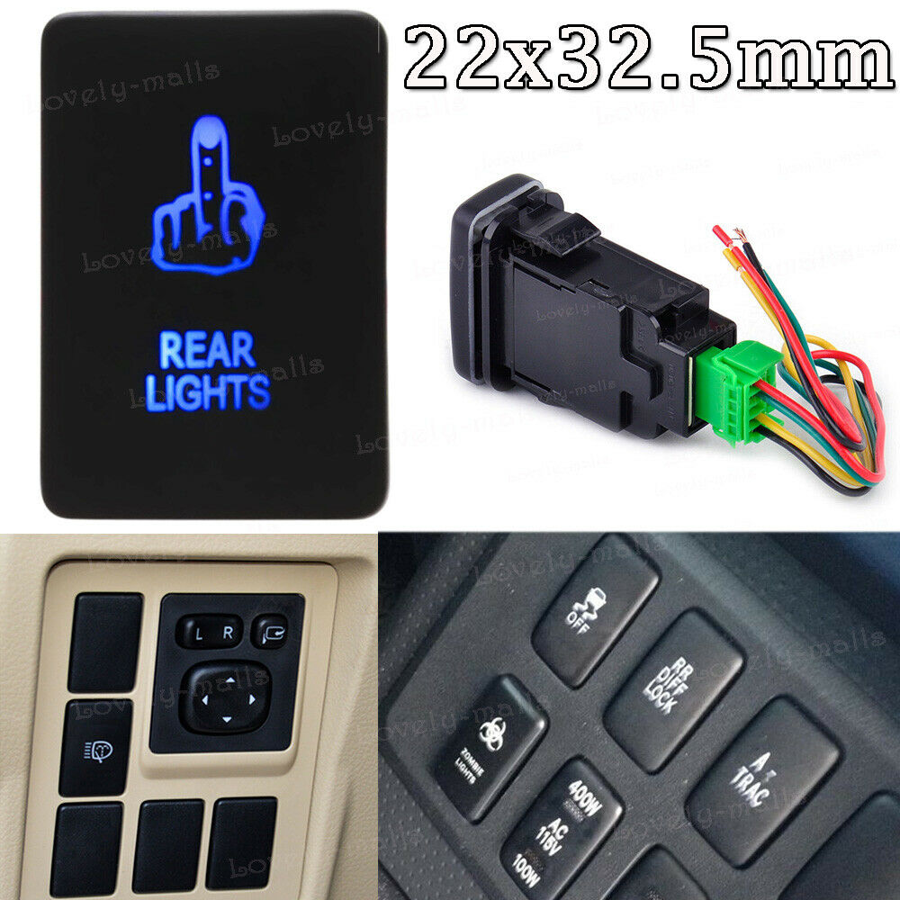 12V 3A ON-OFF Blue LED Push Switch Rear Light For Toyota Tundra 4Runner 2010-up