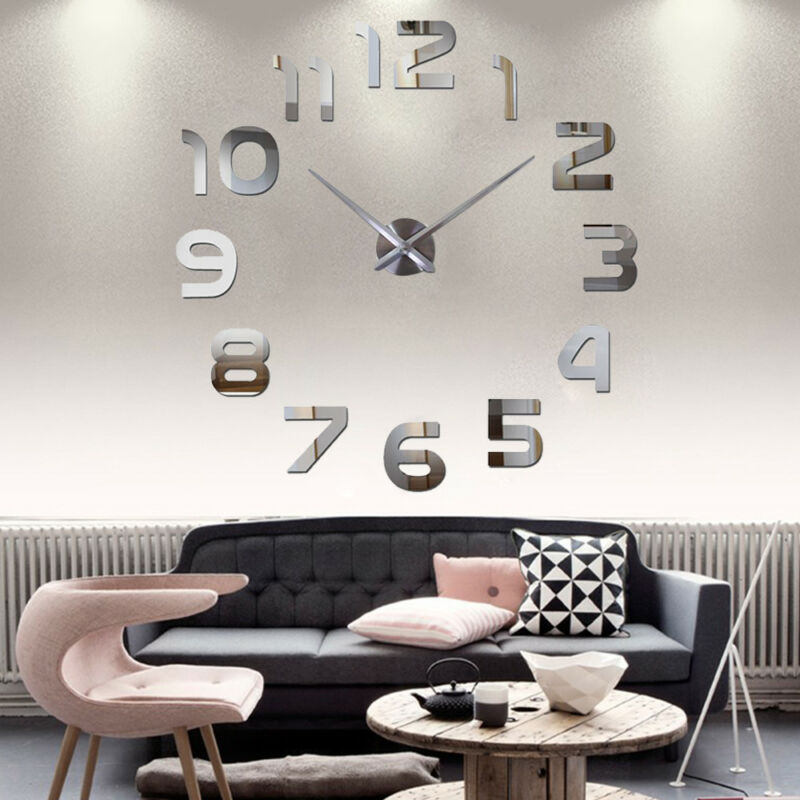 Wand Uhr Wohnzimmer Wanduhr Wandtattoo Aufkleber Deko XXL 3D-Design  Silbern