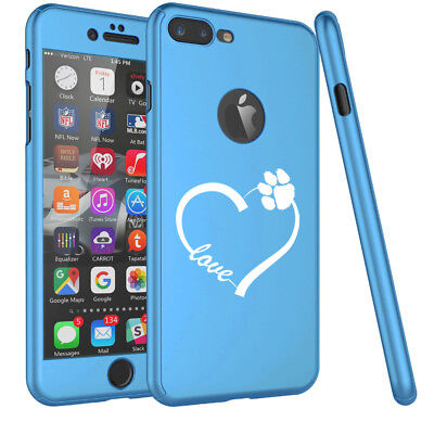 For iPhone 360° Thin Slim Case Cover + Screen Protector Love Heart Paw Animals ()