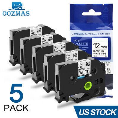 5pk Compatible Label Maker Tape 12mm For Brother P-touch Tz-231 Tze-231 Pt-d210