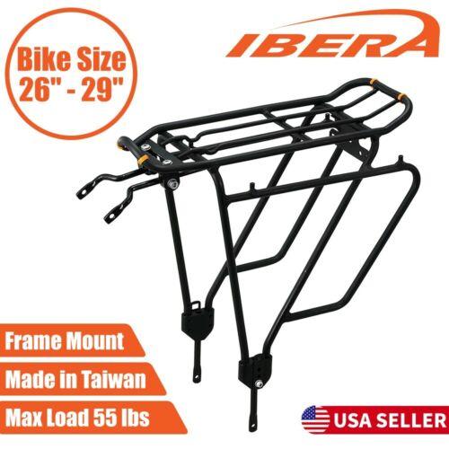 "Ibera Bike Rear Rack Touring Carrier Plus for Non-Disc Brake Mount 26""-29"" Bikes"