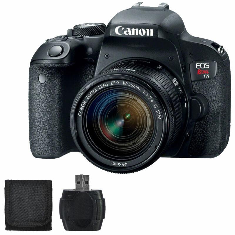 Canon EOS Rebel T7i 24.2MP DSLR Camera Black with EF-S 18-55mm IS STM Lens