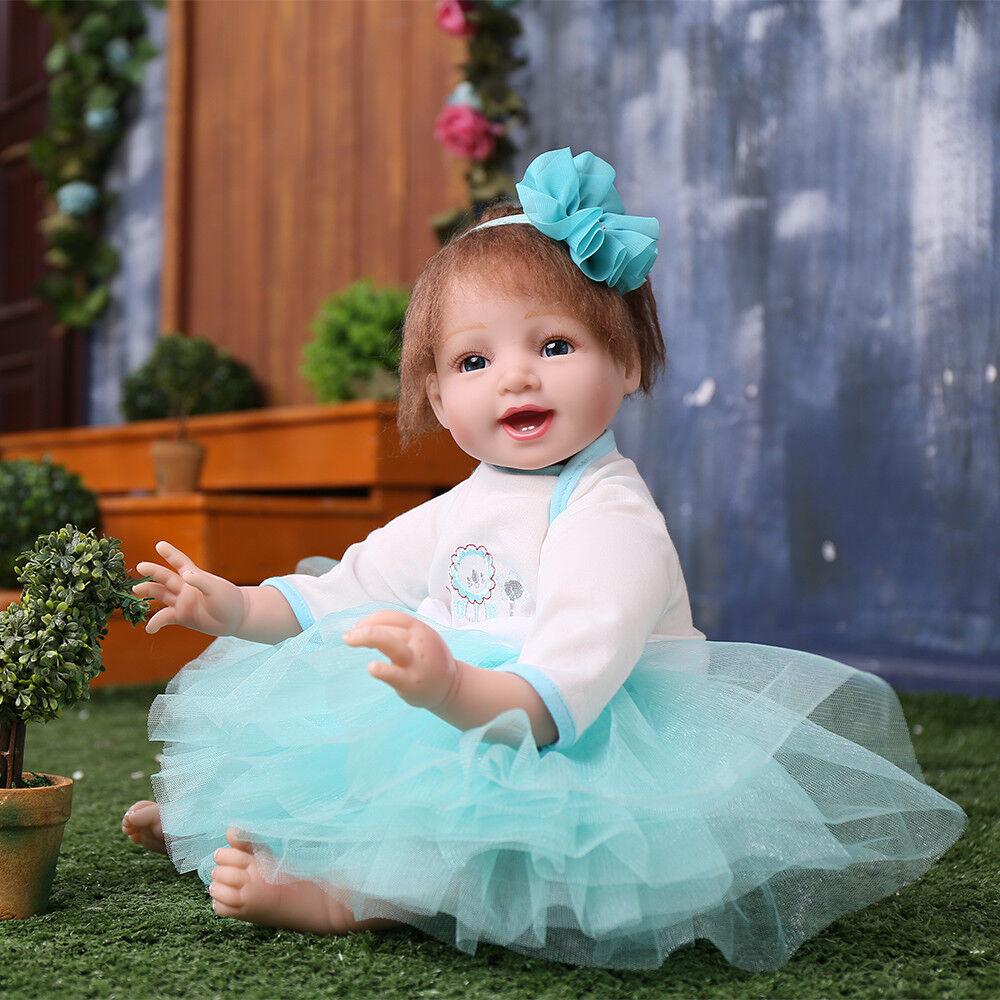 Handmade 22'' Lifelike Reborn Baby Dolls Newborn Soft Vinyl Silicone Girl Doll