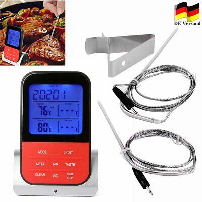 Digital Grillthermometer Fleisch-Thermometer Bratenthermometer Funk 2-Fühler DHL