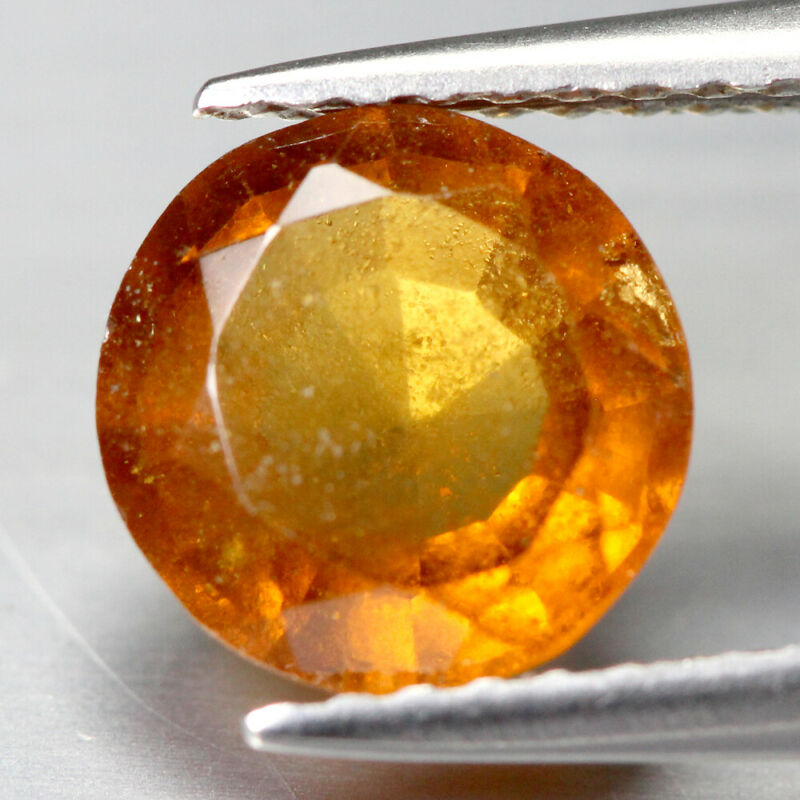 Certified   1.62Cts Natural Hessonite Garnet   Orange   Round Gemstone SEE VIDEO