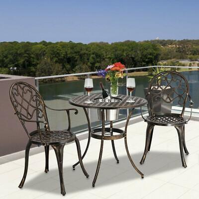 3pc Patio Bistro Furniture Set Outdoor Garden Iron & Table Chair /w Ice Bucket Aluminum Bistro Chairs