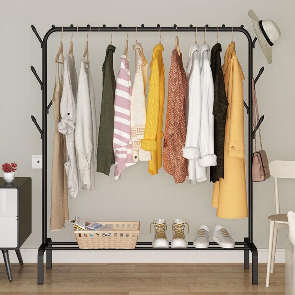 Kleiderständer Garderobenständer Wäscheständer Metall Kleiderstangen 1 Ablage DE