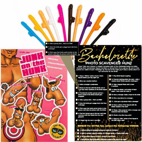 Bachelorette Party Games - Pin The Junk - Scavenger Hunt - 10 Penis Straws
