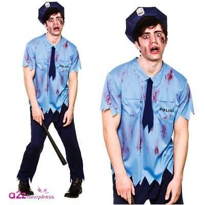 Mens Zombie Cop Costume Adult Policeman Police Halloween Fancy Dress - Zombie Cop Kostüm